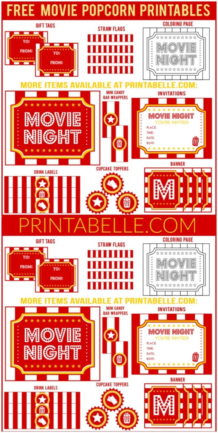 Free Movie Night Popcorn Printables and more! – Free Party Printables at Printabelle