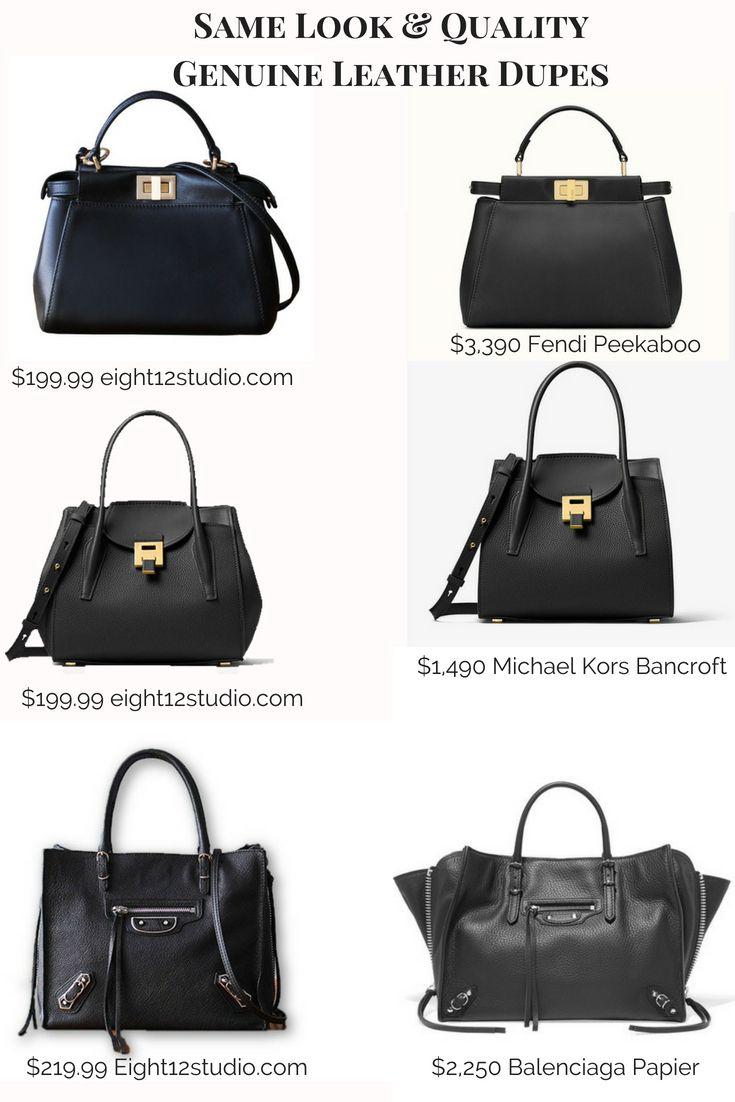 8100e1e92d5c Designer handbag dupes - same quality leather, hardware and workmanship.  Fendi Peekaboo designer dupe Michael Kors Bancroft designer dupe Balenciaga  Papier ...
