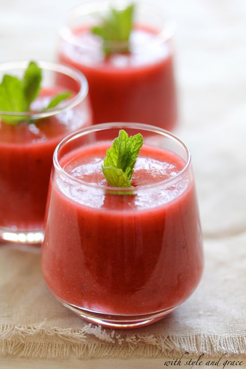 """Strawberry Gazpacho - For our Anything Goes-themed gala with a red, white, and black color scheme, this could be a fun butlered hors d'oeuvre """"shooter."""" Summer-y, refreshing, and RED!"""