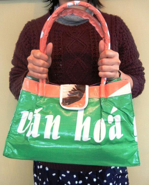 Recycled vinyl banner shoulder bag