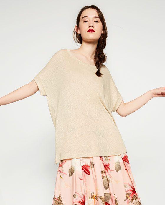 Image 1 of OVERSIZED LINEN T-SHIRT from Zara