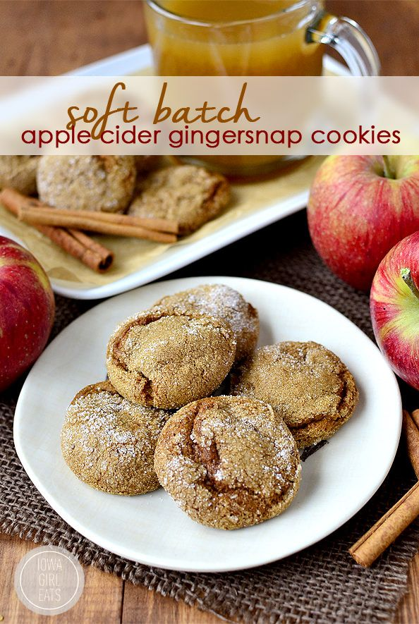 Soft Batch Apple Cider Gingersnap Cookies are soft, chewy and apple-cider spiked! #glutenfree   iowagirleats.com