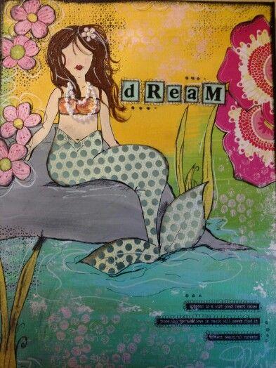 #mixedmedia #canvas #mixedmediamermaid #mermaidcanvas #perfectlyimperfectdesigns #dreamcanvas