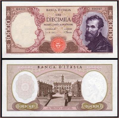 Collezione Personale di Banconote Italiane: 0.2.4. - 10000 LIRE MICHELANGELO