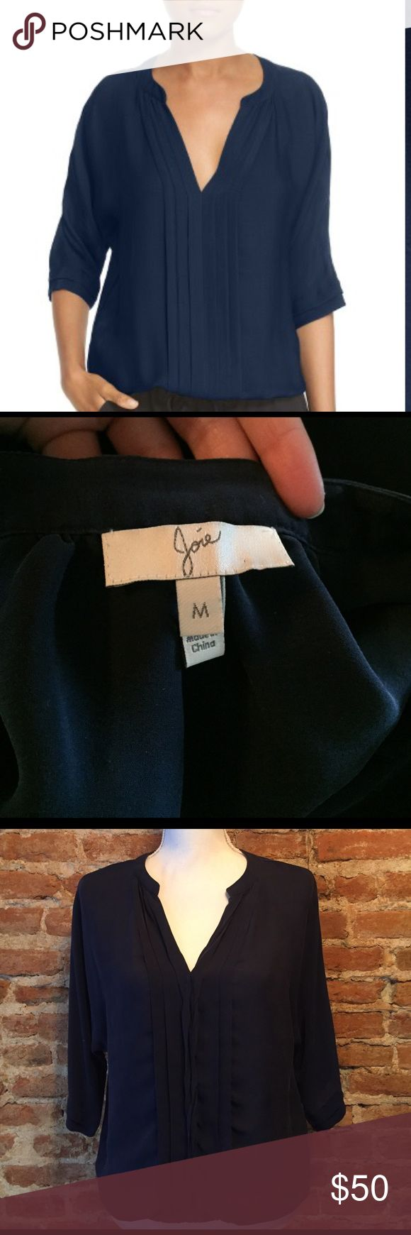 •Joie• Silk Navy Top Joie Silk 'Marru' Semi-Sheer Silk Blouse. This top is still for sale at Nordstroms for $208. In good used condition, there are a few small marks just from storing (very minor, just want to disclose them) that will come out next time it is dry cleaned (see pictures for details). Joie Tops Blouses