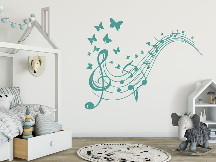 Awesome Wandtattoo Notenschl ssel mit Schmetterlingen f r Kinderzimmer