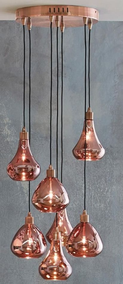 Copper ceiling lighting idea love these