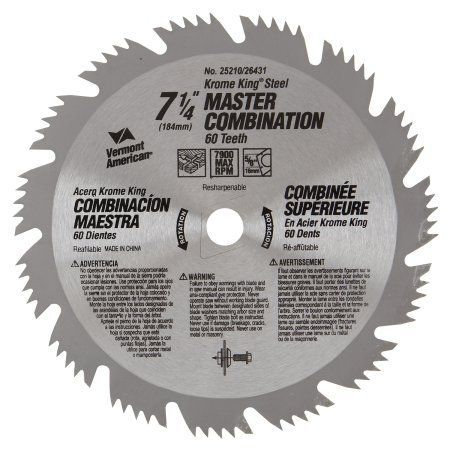 Vermont American 25210 7-1/4 inch 64T Krome King Master Combination Circular Saw Blade, Multicolor