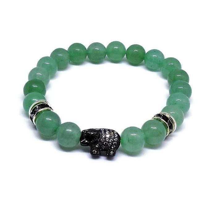 Green Aventurine 8 mm beaded bracelet with black CZ elephant , silver rhinestones and heishi beads.  This is a stone of prosperity and good luck. Get it now to bring some luck for you!