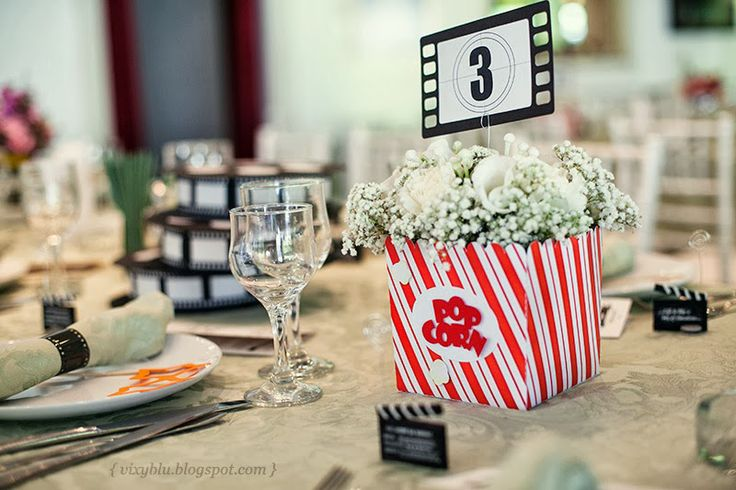 Cinema wedding theme - table number