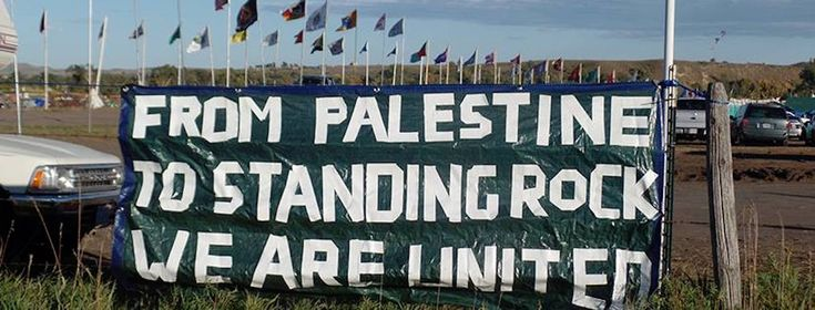 """""""From Palestine to Standing Rock"""" banner (Photo: Haithem El-Zabri with creative help from PYM)"""