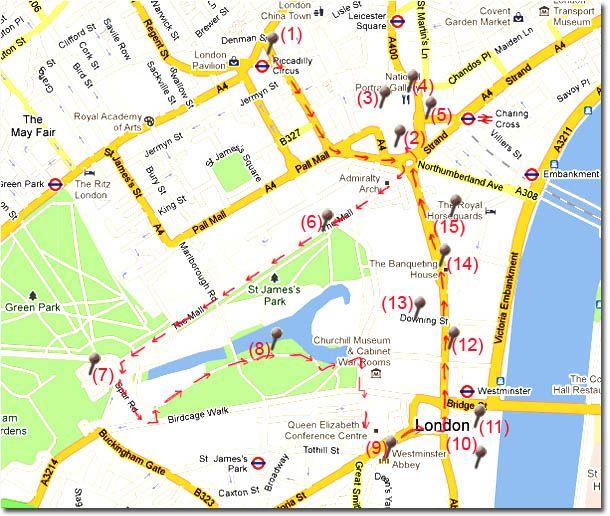 Ruta andando en el centro de Londres en Viaje por Londres - Ruta 1