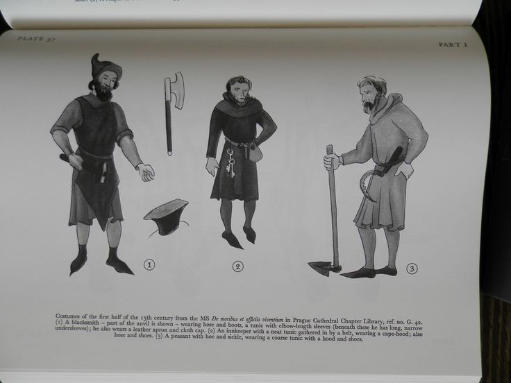 Costumes of the first half of the 15th century from the MS De moribus et ofĄciis viuentium in Prague Cathedral Chapter Library, ref. no. G. 42. (x) A blacksmith — part of the anvil is shown — wearing hose and boots, a tunic with elbow-length sleeves (beneath these he has long, narrow undersleeves); he also wears a leather apron and cloth cap. (2) An innkeeper with a neat tunic gathered in by a belt, wearing a capehood; also hose and shoes. ()