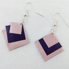 """Boucles d'oreilles """"carrés"""" violettes et roses en capsule de café nespresso"""