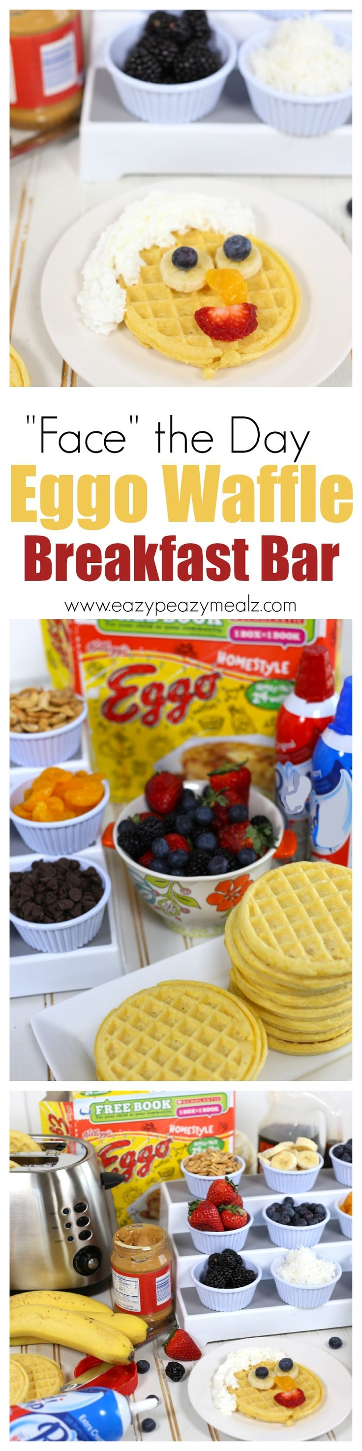 Make facing the day easier and tastier with an Eggo Waffle Bar! Simple, fun, and a great way to add fruits, nuts, and seeds to your kid's diet! #ad #EggoWaffleBar @Walmart - Eazy Peazy Mealz