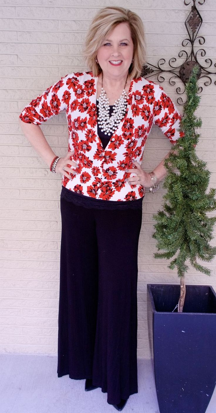 50 IS NOT OLD   OUTFIT FOR WEDDINGS, WORK, OR DATE NIGHT   FASHION OVER 40   Pop Of Color   Palazzo Pants   Fashion Over 40 For the Everyday Woman