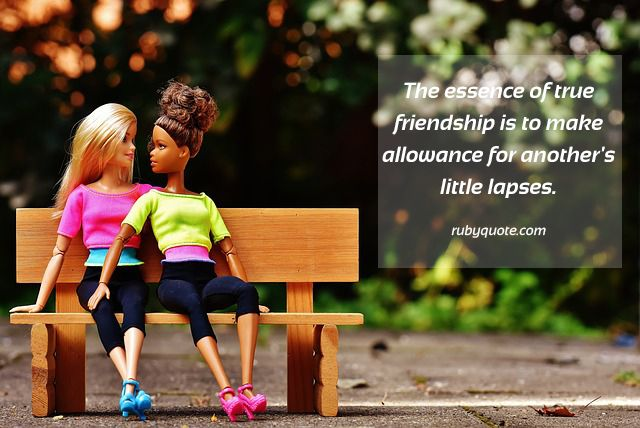 The essence of true friendship is to make allowance for another's little lapses.