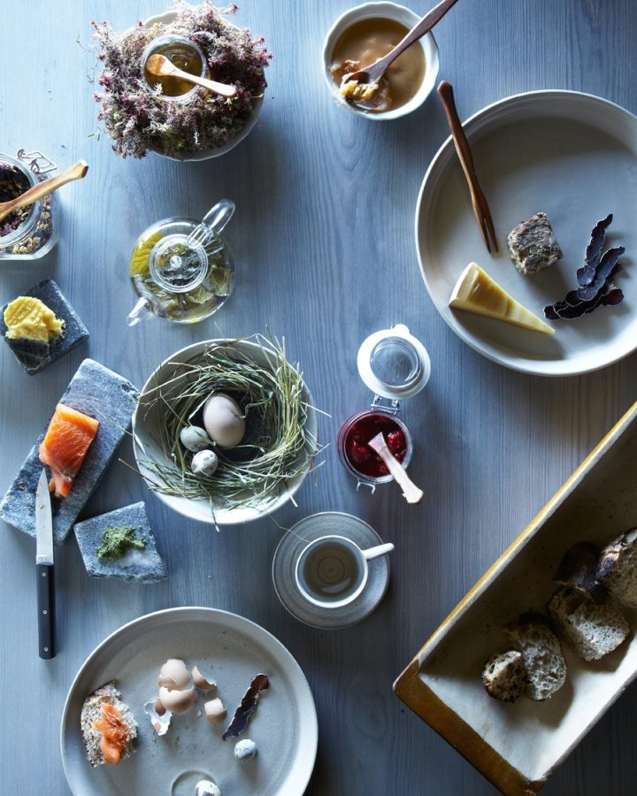 Breakfast of Reindeer Jerky, Smoked Salmon, Quail Eggs, Meadow Butter and Forest Tea. At Faviken Magasinet, Sweden. Beautiful photo by Gentl and Hyers.