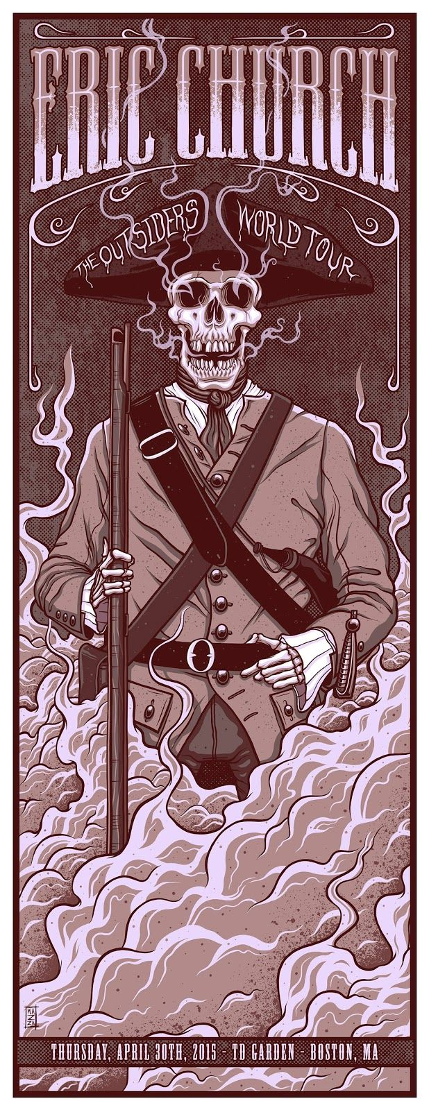 """Eric Church """"The Outsiders World Tour"""" Poster (Boston, MA) by Jim Mazza (via Inside the Rock Poster Frame)"""