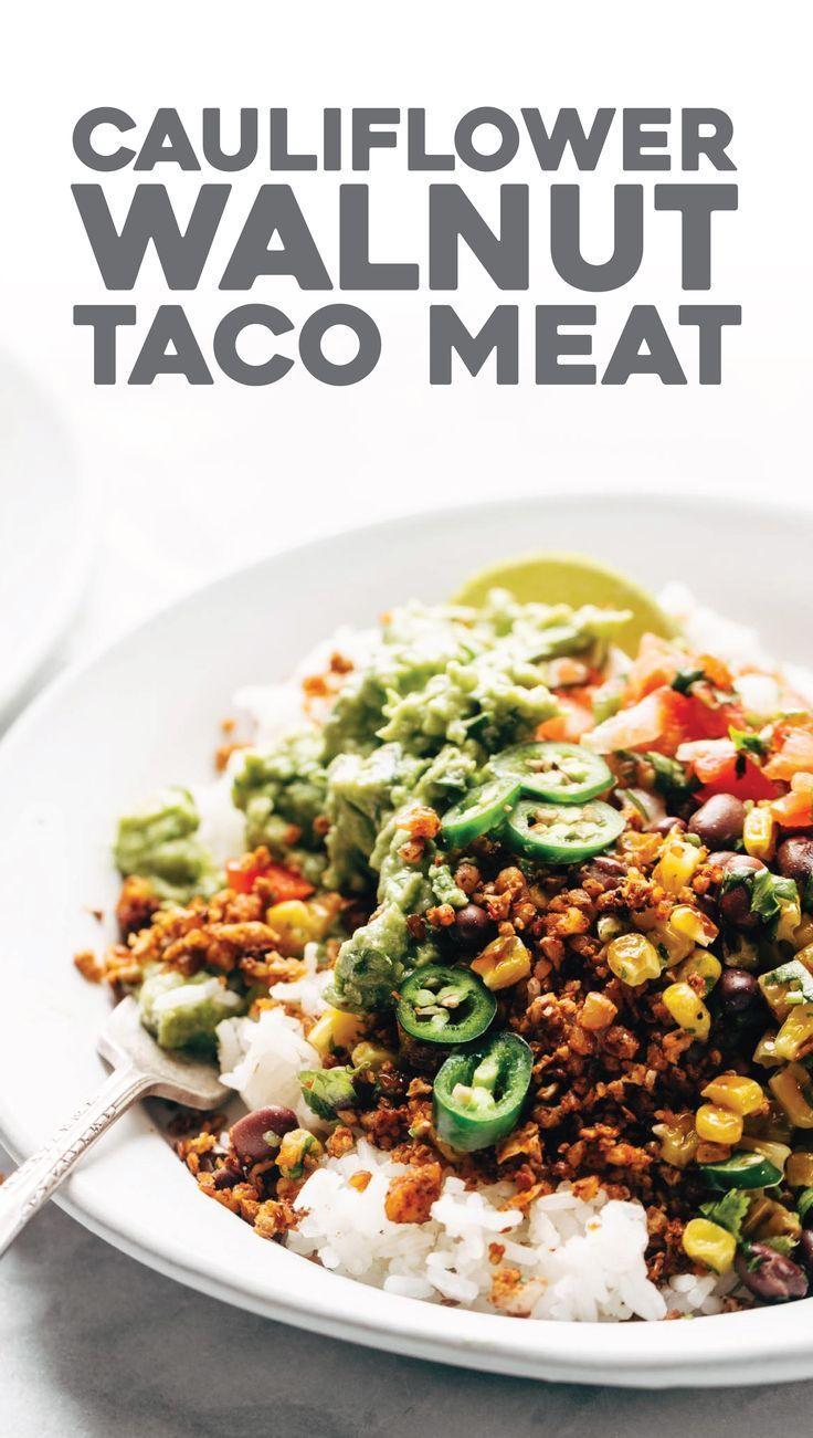 Spicy Cauliflower Walnut Taco Meat! It's so easy: just mix and bake. meatless, gluten free, vegan! | pinchofyum.com
