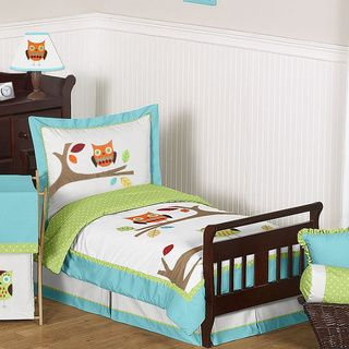 @Overstock - Sweet Jojo Designs 5-piece Hooty Owl Toddler Comforter Set - This bright and cheerful designer bedding set uses a sensational collection of 100-percent cotton fabrics including an exclusive Sweet Jojo Designs mini dot print.  http://www.overstock.com/Bedding-Bath/Sweet-Jojo-Designs-5-piece-Hooty-Owl-Toddler-Comforter-Set/8698533/product.html?CID=214117 $99.99