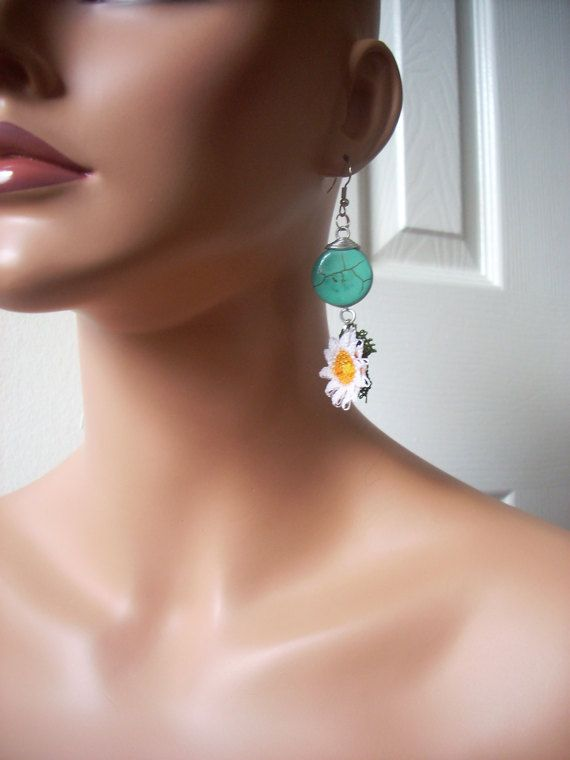 Valentines day gift  Turquoise needle lace earring  Gift