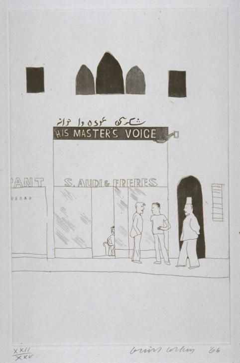 "David Hockney: 'The Shop Window of a Tobacco Store' from ""14 Poems of Cavafy"", 1966 (etching and aquatint on paper)"