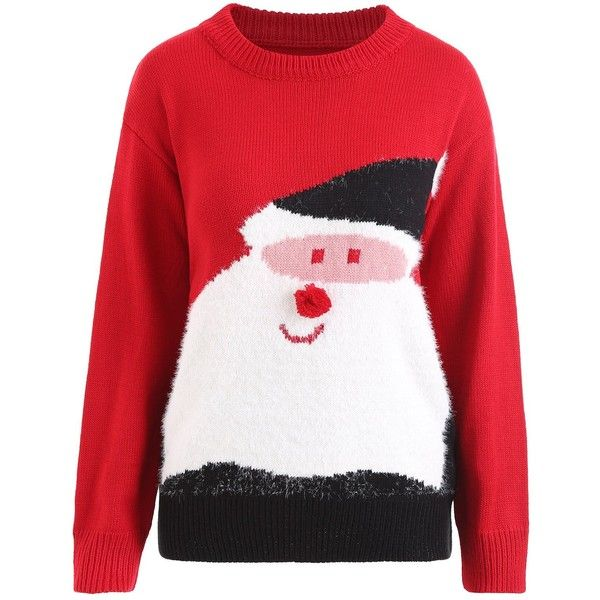 Red ONE SIZE Plus Size Christmas Santa Claus Pom Sweater (66 BRL) ❤ liked on Polyvore featuring tops, sweaters, women's plus size christmas sweaters, plus size christmas tops, christmas tops, red sweater and pom pom christmas sweater