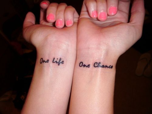 One life one chance.. Love the saying
