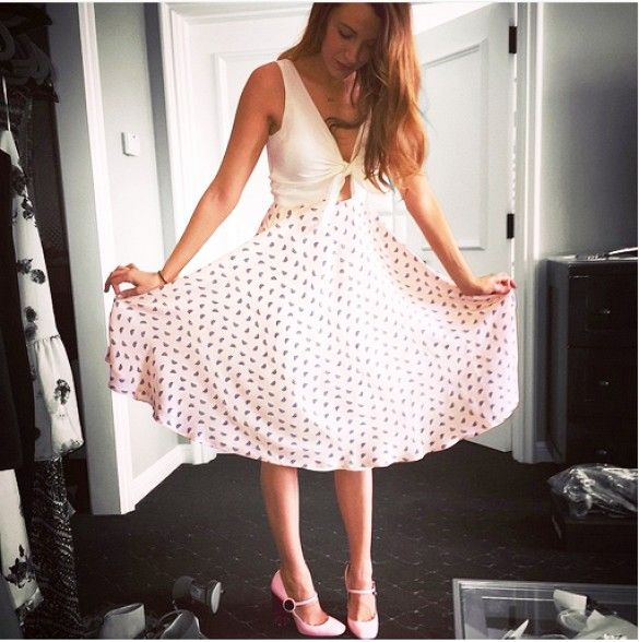 Blake Lively in the exclusive Amour Vert x Preserve Champagne dress she co-designed
