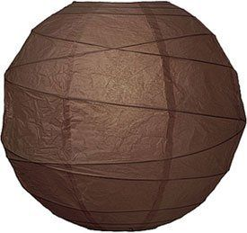 Chocolate Brown 14 Inch Premium Round Paper Lantern by Luna Bazaar. $5.50. This brown paper lantern is made with the finest quality rice paper and bamboo freestyle ribbing. As with all our premium paper lanterns, they can be used with most ceiling fixtures and with most light cords for hanging lanterns. They can also be used with our LED battery lights as convenient, cord-free lighting and decoration for parties, weddings, patios, gardens, and outdoor celebrations. (Please note ...