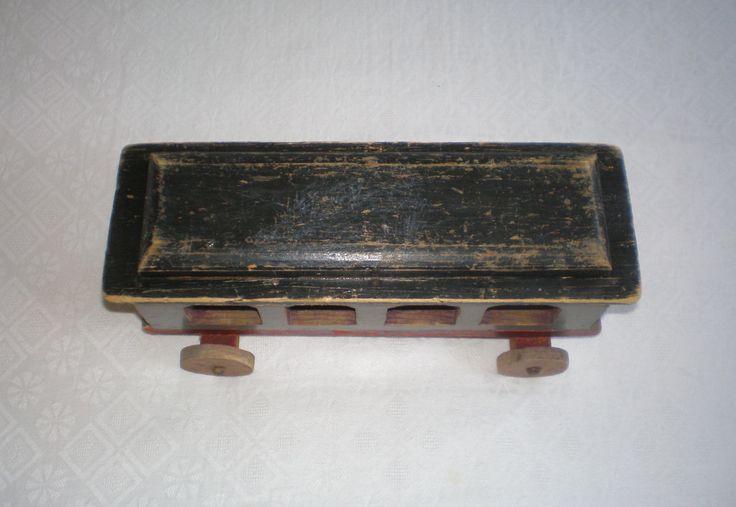 alt antik Eisenbahnwagen Waggon Anhänger Personen Holz Eisenbahn Spielzeug Kind | eBay