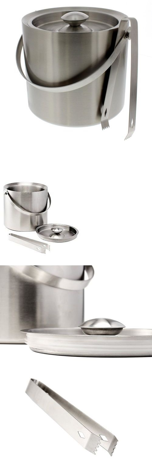Ice Buckets and Wine Coolers 63506: Stainless Steel Double Walled Ice Bucket Tong Silver Bar Tool Ice Serve Holder -> BUY IT NOW ONLY: $30.94 on eBay!