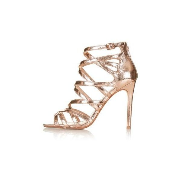 TopShop Millie Caged Sandal (£43) ❤ liked on Polyvore featuring shoes, sandals, heels, rose gold, heeled sandals, caged sandals, strap sandals, strappy heeled sandals and metallic high heel sandals