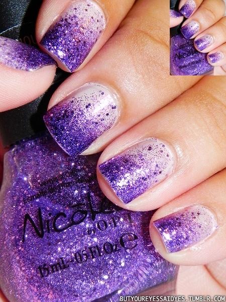 Purple glitter ombre nails