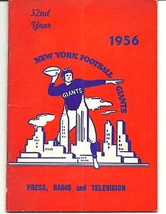 1956 NEW YORK FOOTBALL GIANTS PRESS RADIO AND TELEVISION GUIDE #nyg #NFLChampionship