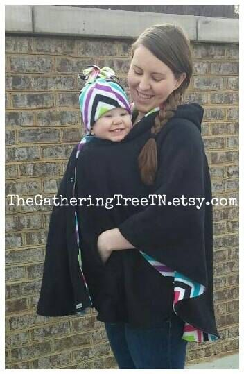 Custom Adult Fleece Poncho Hooded Cape Baby Wearing Nursing Cover