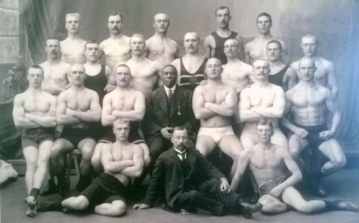 male chars, Group, boxers, old photo, black and white
