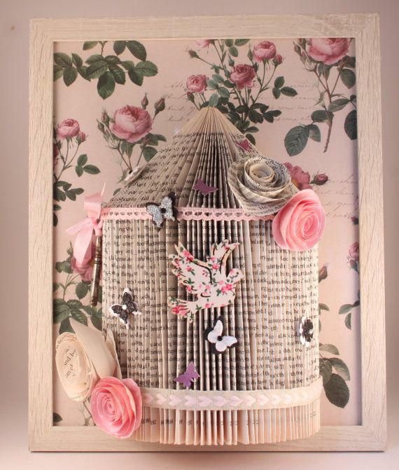 10)pink handmade shabby chic birdcage Origami book fold art framed 10 x 8