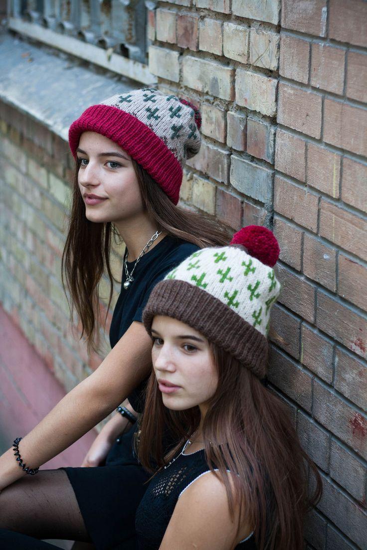 Купить Шапки Текила. - орнамент, жаккардовая шапка, шапка с помпоном, шапка с отворотом, вязаная шапка