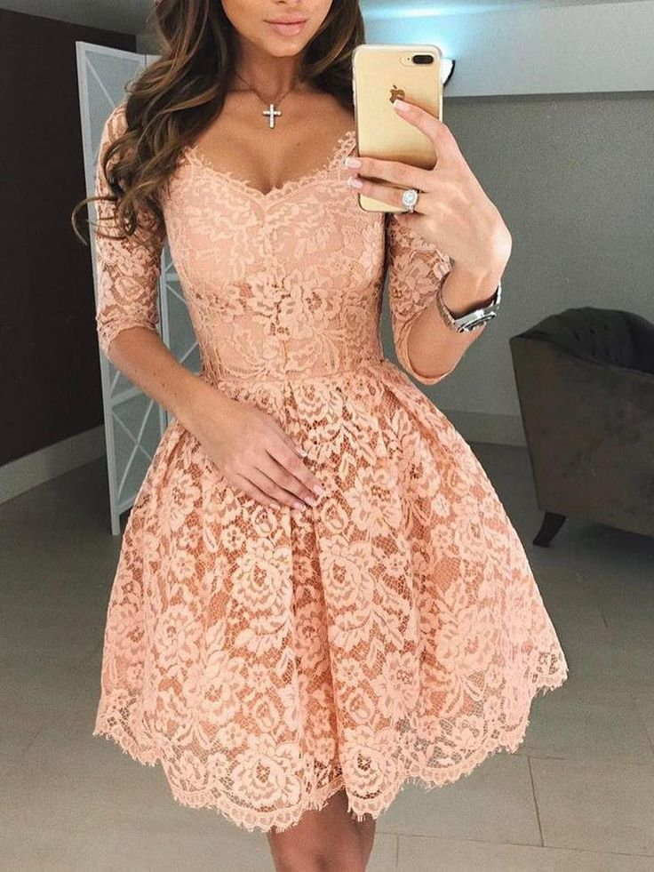 Stylish Applique Lace Pleated Dress