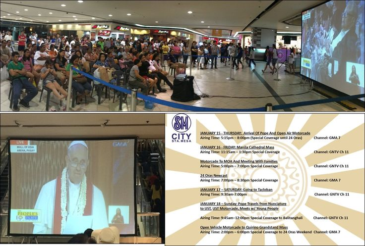 happening now, PAPAL VISIT LIVE STREAMING at upper ground floor  Live coverage is until January 18 in partnership with GMA 7 and GMA News TV   See you! #PapalVisitPH #PopeFrancisPH #MercyandCompassion #SMStaMesa
