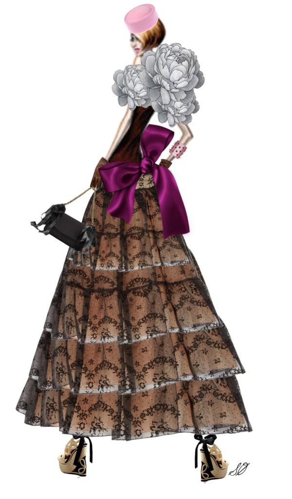 """The long dentelle skirt"" by bjornine ❤ liked on Polyvore"
