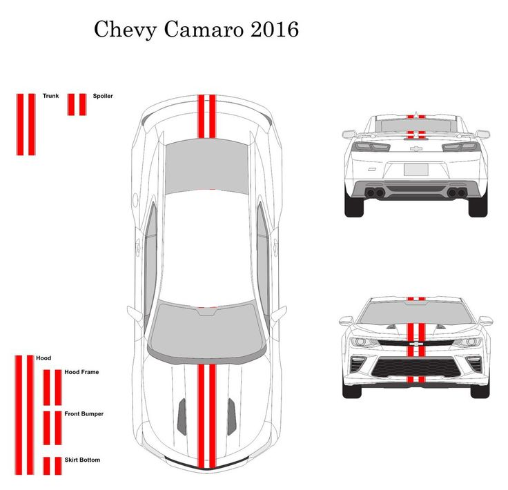 "Chevy Camaro Convertible 2016 Dual 3"" Vinyl Racing Stripe Decal Kit with Pins"
