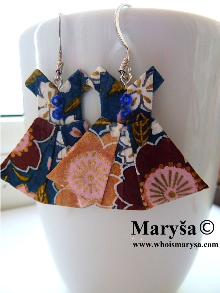 Origami Dress earrings Blue with flowers Dress dangle earrings Washi earrings Japanese Dress with flowers Gift for her Romantic Gift Idea by MarysaArt on Etsy