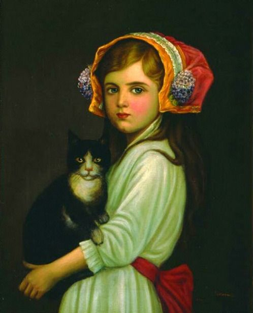Antoni Piotrowski (1853 – 1924, Polish)  Girl with a Cat