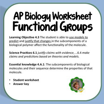 Here's an AP Biology resource for functional groups.  The worksheet addresses…