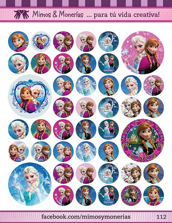 "Frozen Bottle Cap Images - 8.5"" x 11"" Digital Collage Sheet - 1"" Circles for Hair Bows"