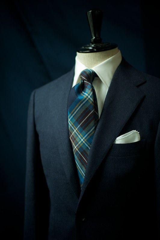 Ring Jacket 'Armoury' Model in Navy Flannel  Drake's London Handrolled Tartan Wool Tie
