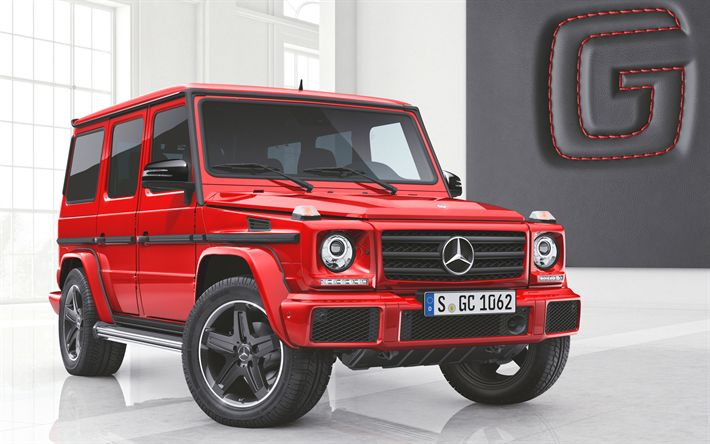 Download wallpapers 4k, Mercedes-Benz G63 AMG, Manufaktur Edition, Gelendvagen, W463, Mercedes G-Class AMG, 2018 cars, SUVs, tuning, red Gelendvagen, Mercedes